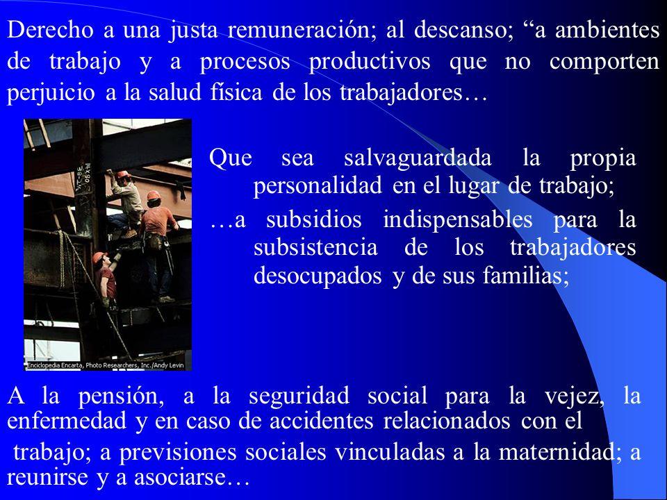 V. Derechos de los trabajadores a) Dignidad de los trabajadores y respeto de sus derechos 301. Los derechos de los trabajadores …se basan en la natura
