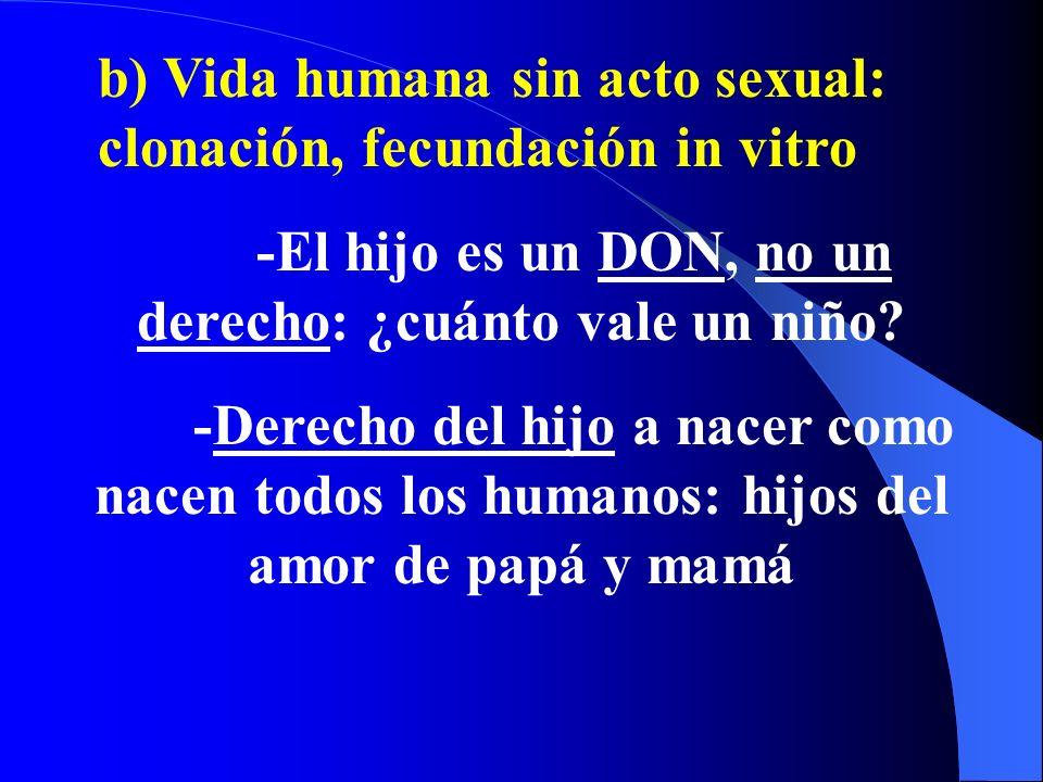 a) Acto sexual sin apertura a la vida: Antes, durante o después (Interrumpir coito, anticonceptivos, preservativos, esterilizarse, aborto) Ejemplos de