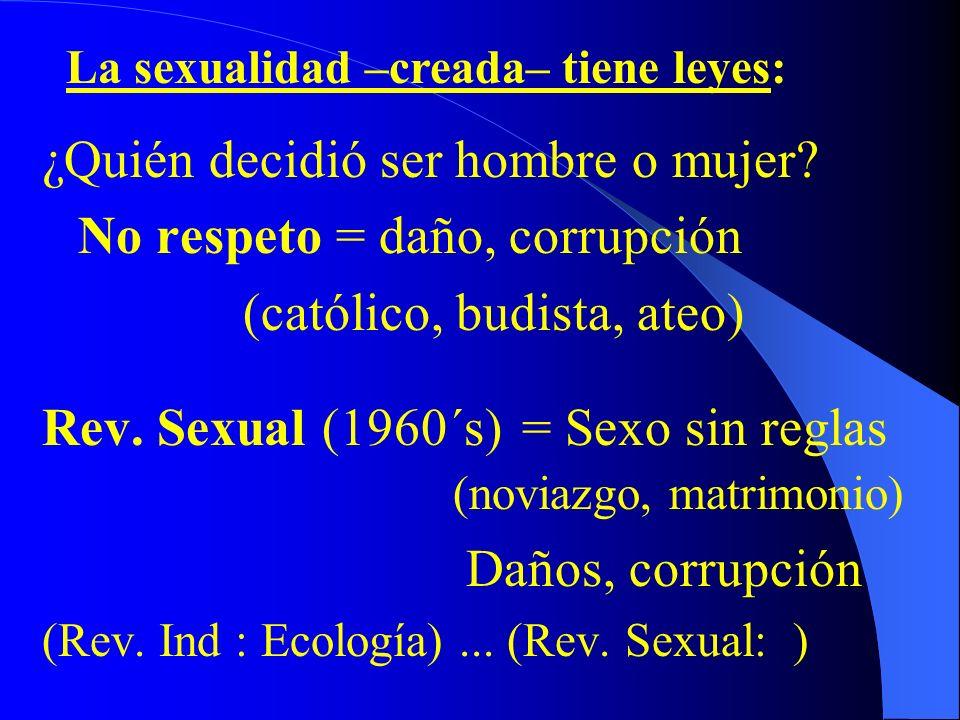 ¿Quién decidió ser hombre o mujer.No respeto = daño, corrupción (católico, budista, ateo) Rev.