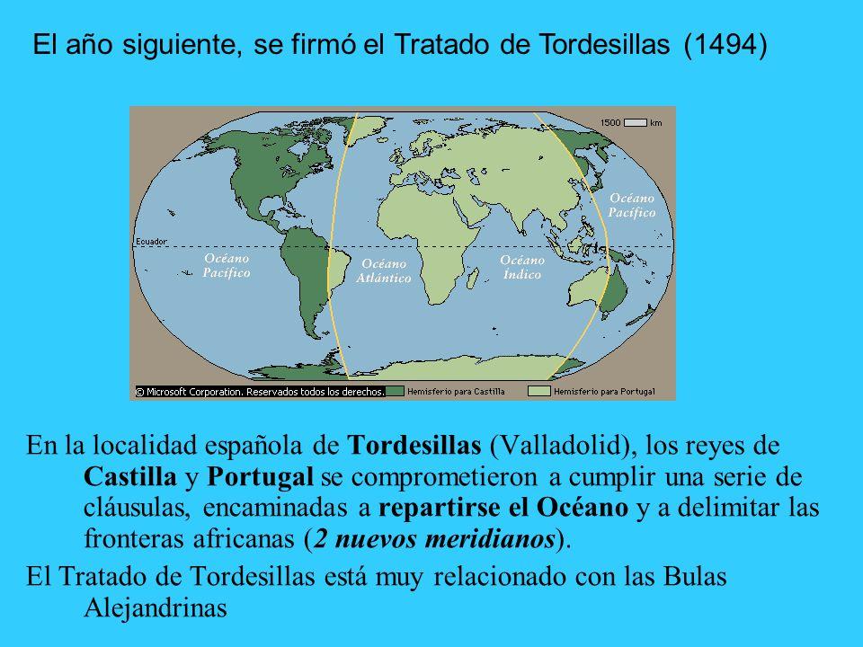 Los Reyes Españoles se mueven rápido, para que el Papa les autorice las exploraciones. Entre Abril y Septiembre de 1493, el Papa Alejandro VI conceder