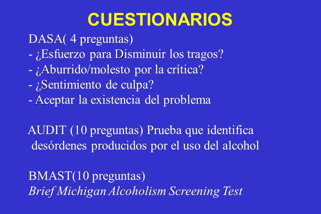 DASA( 4 preguntas) D - ¿Esfuerzo para Disminuir los tragos? A - ¿Aburrido/molesto por la crítica? S - ¿Sentimiento de culpa? A - Aceptar la existencia