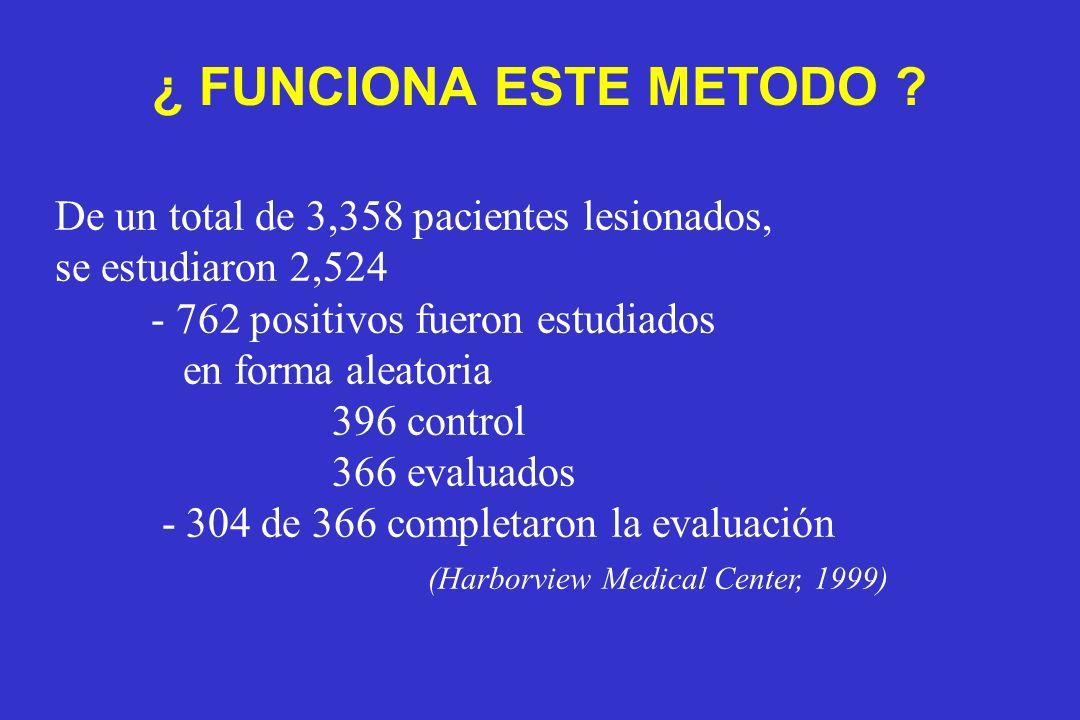 De un total de 3,358 pacientes lesionados, se estudiaron 2,524 - 762 positivos fueron estudiados en forma aleatoria 396 control 366 evaluados - 304 de