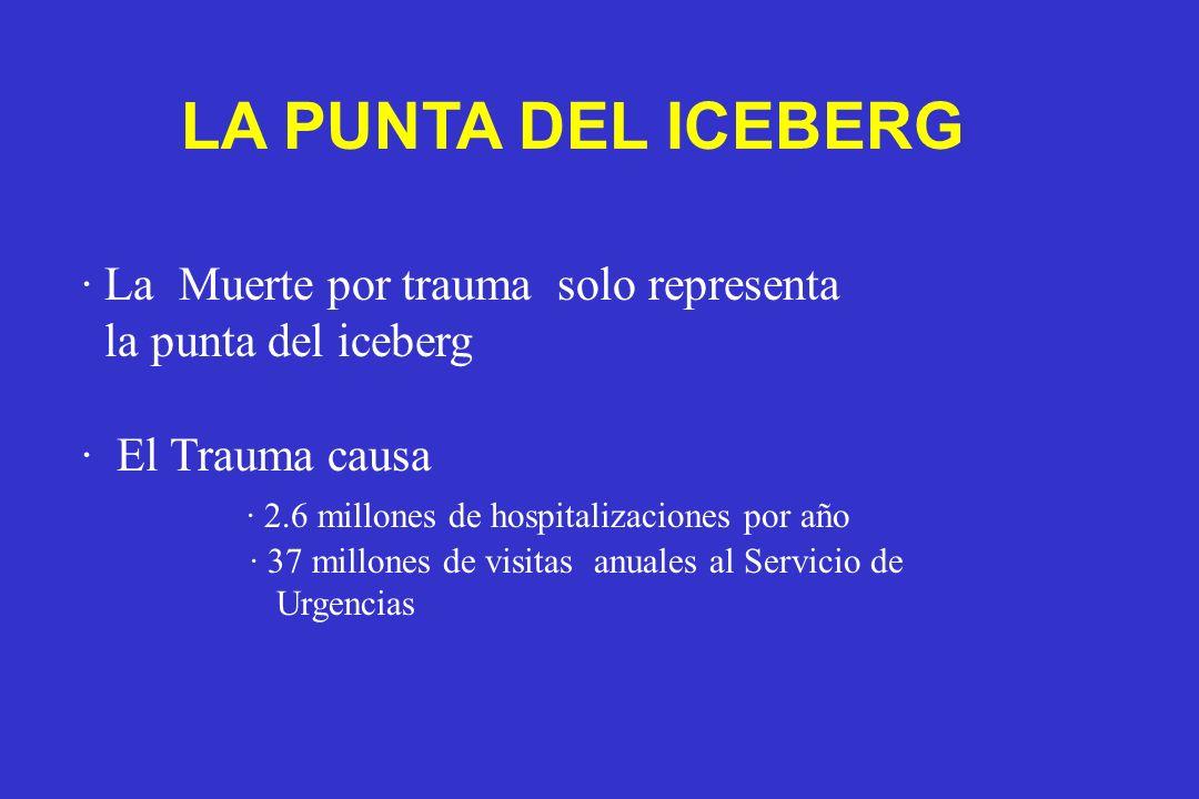 · La Muerte por trauma solo representa la punta del iceberg · El Trauma causa · 2.6 millones de hospitalizaciones por año · 37 millones de visitas anu