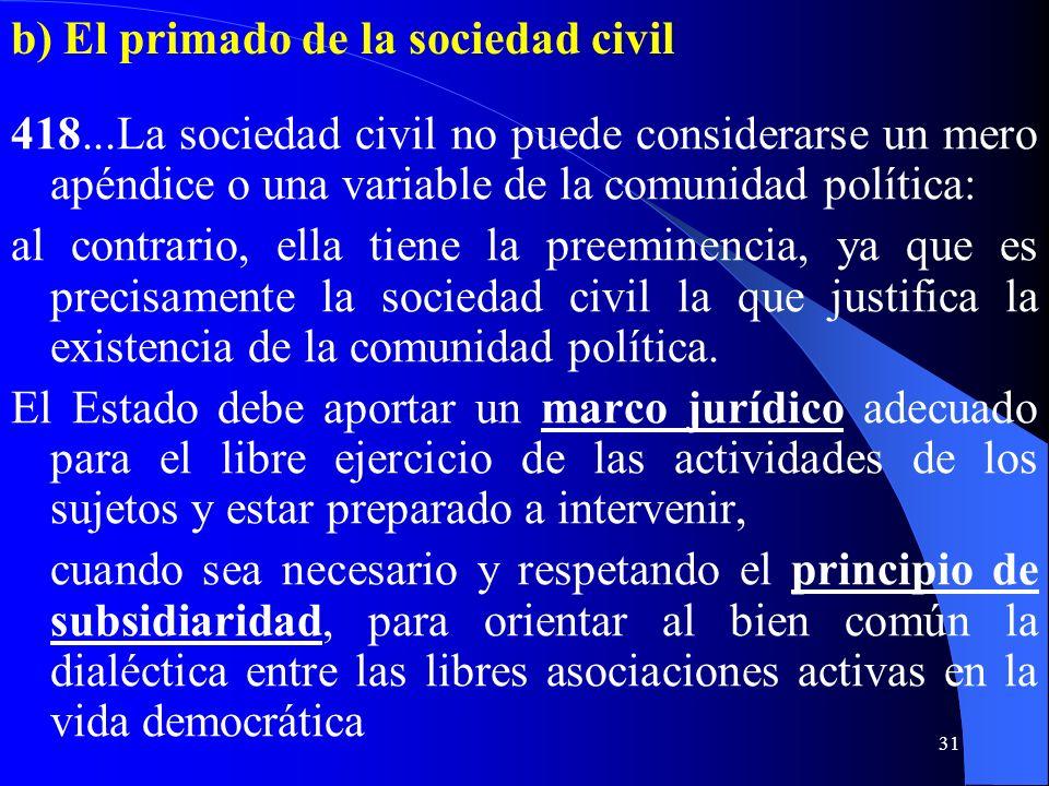 30 V. Comunidad Política y Sociedad civil a) El valor de la sociedad civil 417. La comunidad política está para servir a la sociedad civil, de la cual