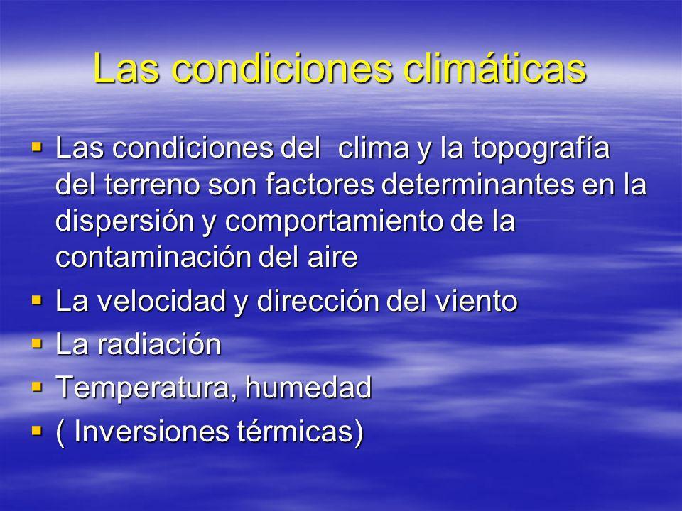 CONTAMINANTES Los contaminantes más relevantes son las partículas en suspensión en sus diferentes tamaños, los dióxido de nitrógeno (NO2), el azufre y el ozono troposférico, el que se forma en la capa más baja de la atmósfera y tiene contacto directo con los seres humanos.