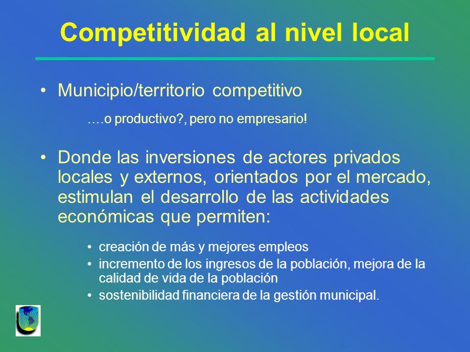 Competitividad al nivel local Municipio/territorio competitivo ….o productivo?, pero no empresario! Donde las inversiones de actores privados locales
