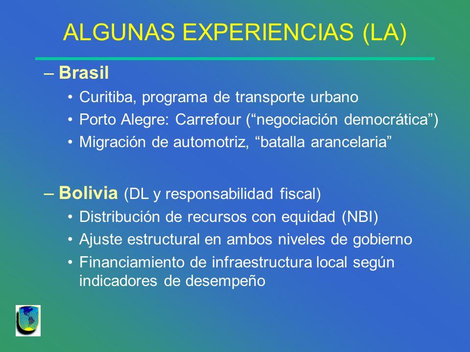ALGUNAS EXPERIENCIAS (LA) –Brasil Curitiba, programa de transporte urbano Porto Alegre: Carrefour (negociación democrática) Migración de automotriz, b