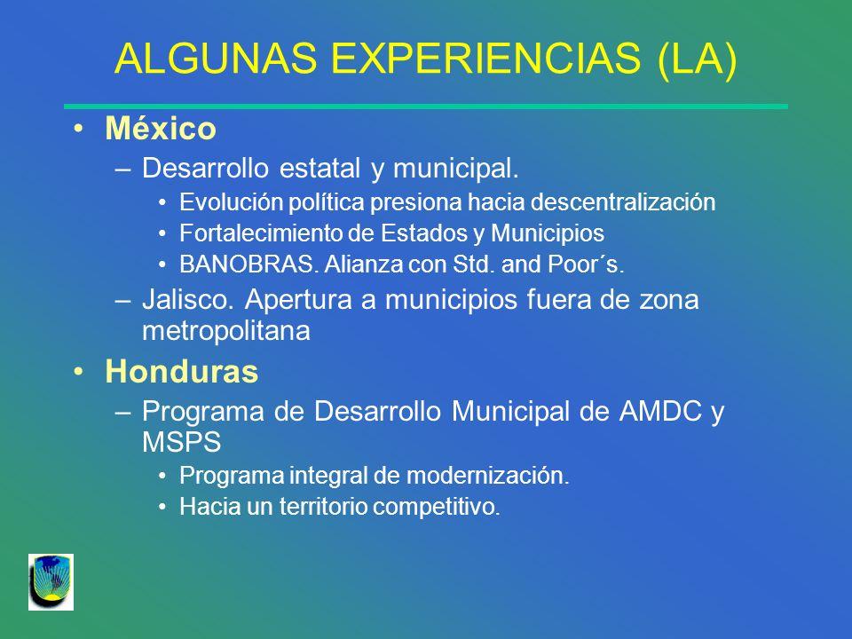 ALGUNAS EXPERIENCIAS (LA) México –Desarrollo estatal y municipal. Evolución política presiona hacia descentralización Fortalecimiento de Estados y Mun