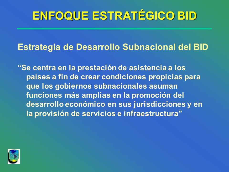 ENFOQUE ESTRATÉGICO BID Estrategia de Desarrollo Subnacional del BID Se centra en la prestación de asistencia a los países a fin de crear condiciones