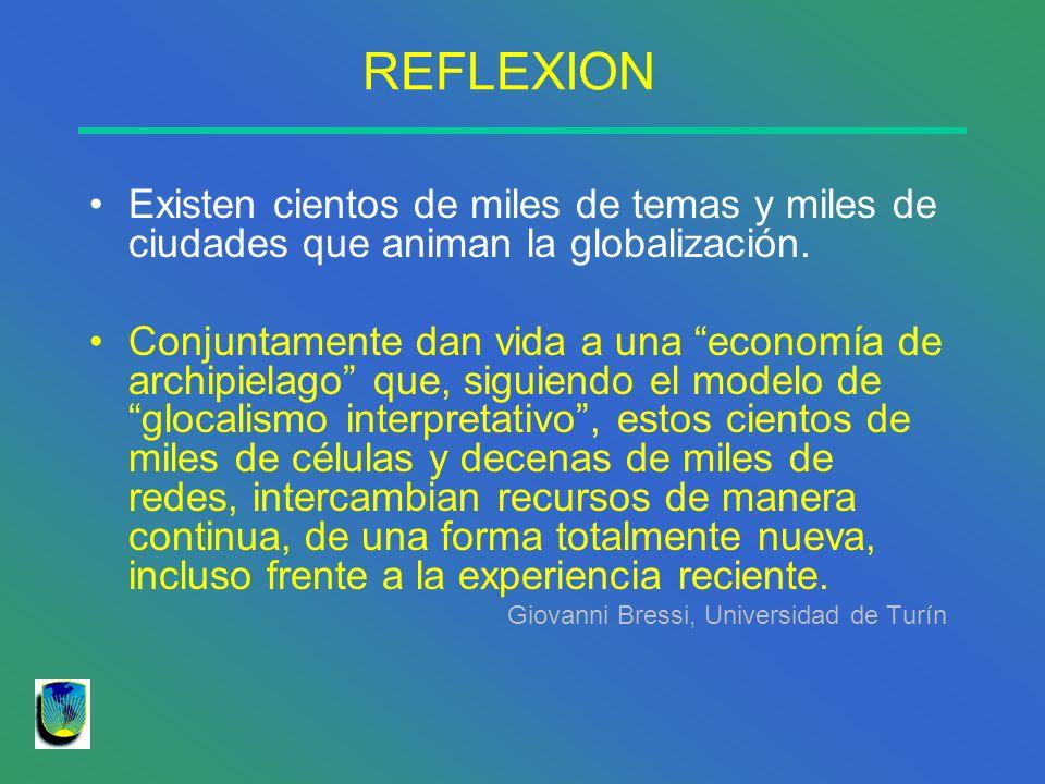 REFLEXION Existen cientos de miles de temas y miles de ciudades que animan la globalización. Conjuntamente dan vida a una economía de archipielago que