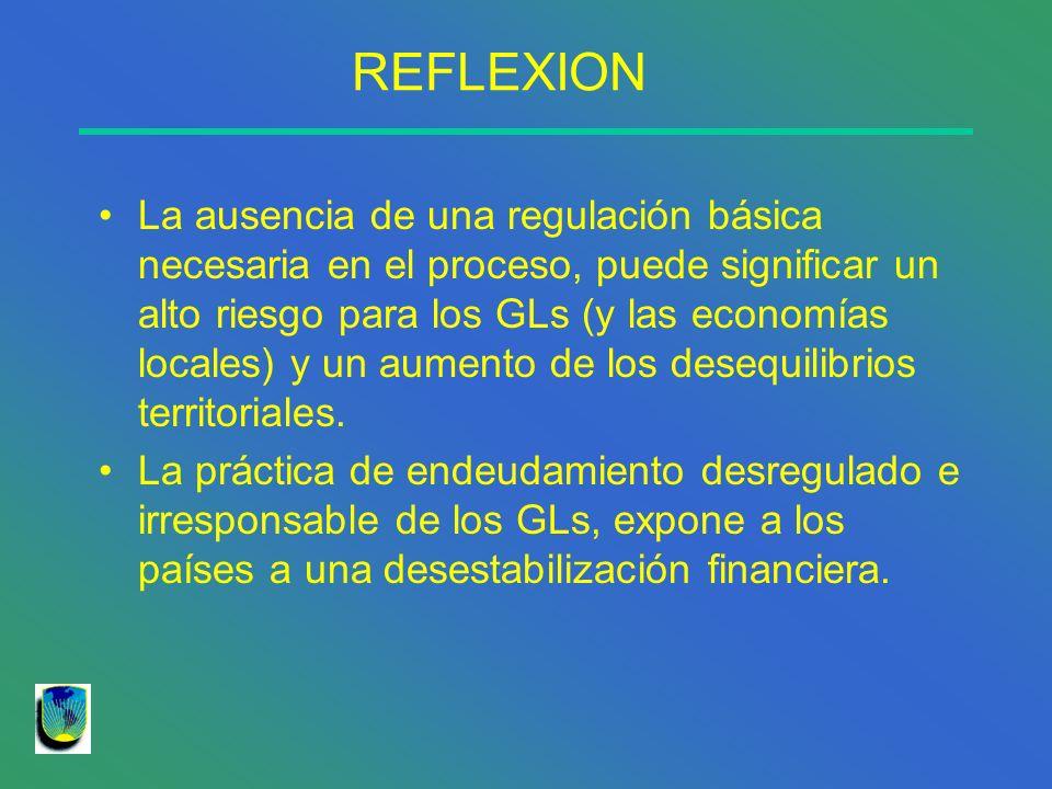 REFLEXION La ausencia de una regulación básica necesaria en el proceso, puede significar un alto riesgo para los GLs (y las economías locales) y un au
