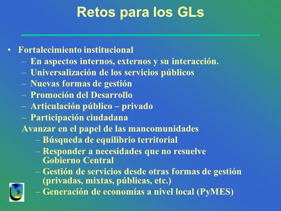 Retos para los GLs Fortalecimiento institucional –En aspectos internos, externos y su interacción. –Universalización de los servicios públicos –Nuevas