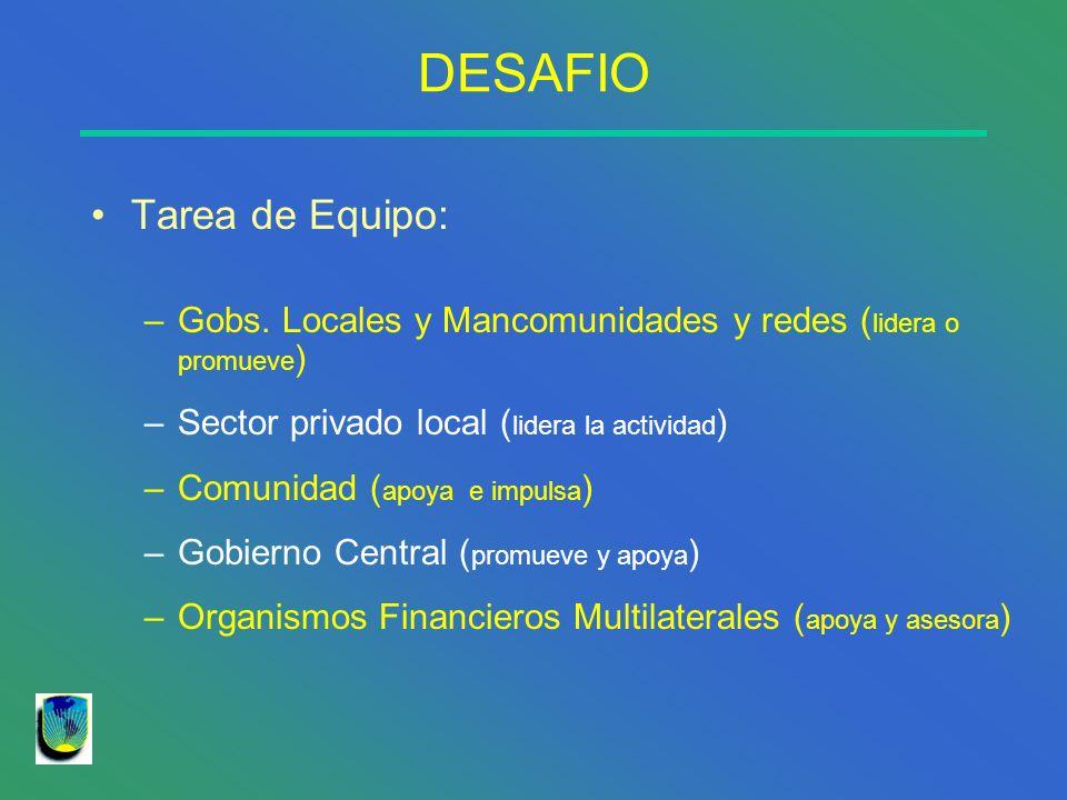 DESAFIO Tarea de Equipo: –Gobs. Locales y Mancomunidades y redes ( lidera o promueve ) –Sector privado local ( lidera la actividad ) –Comunidad ( apoy
