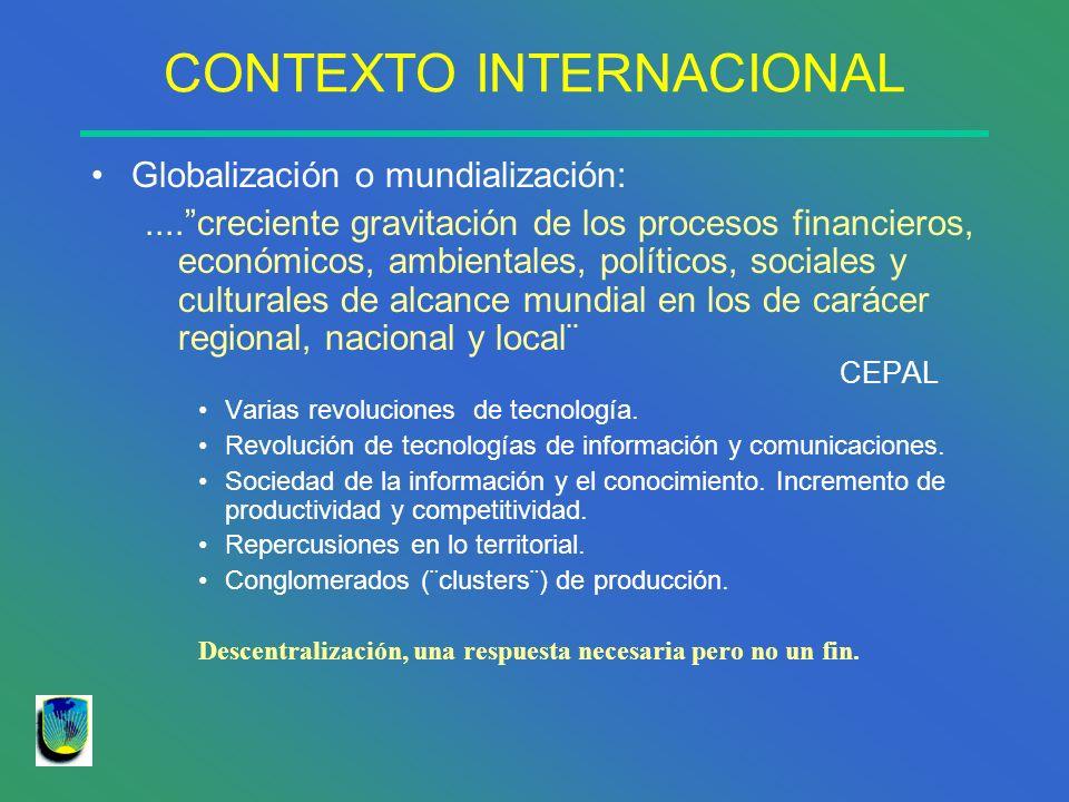 CONTEXTO INTERNACIONAL Globalización o mundialización:....creciente gravitación de los procesos financieros, económicos, ambientales, políticos, socia