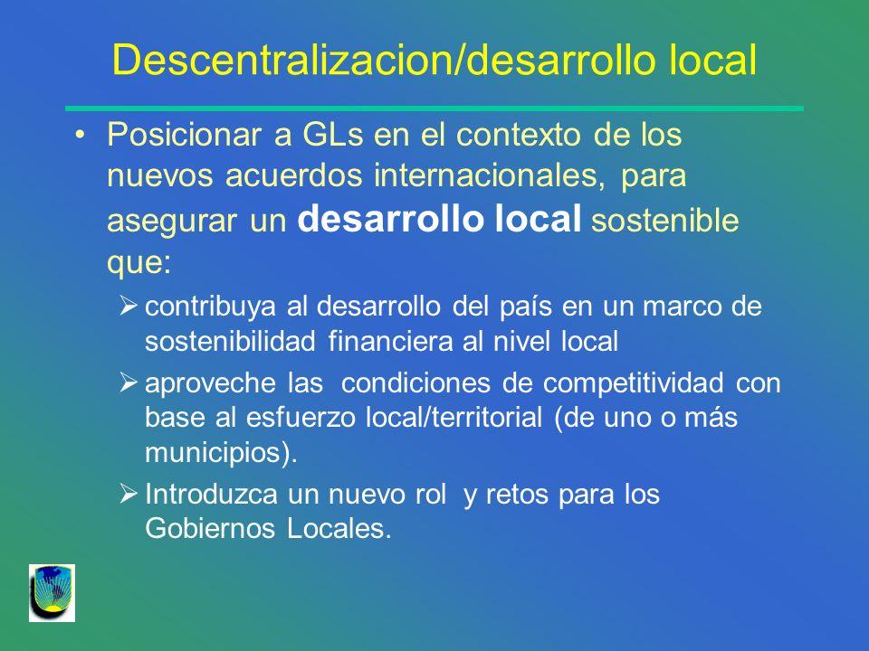 Descentralizacion/desarrollo local Establezca políticas y estrategias según características de territorio Considere el desequilibrio de los territorios Incentive la inlcusión clara de los procesos de desarrollo productivo en agendas de GLs Descentralización acompañe al DL y regional