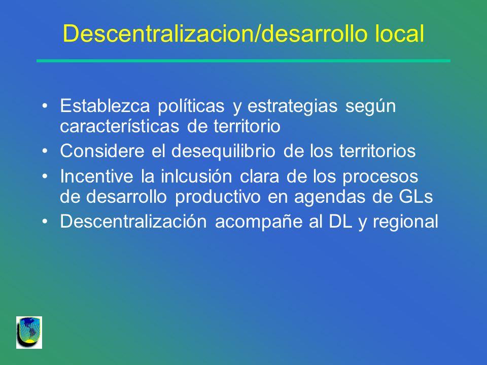 Descentralizacion/desarrollo local Establezca políticas y estrategias según características de territorio Considere el desequilibrio de los territorio