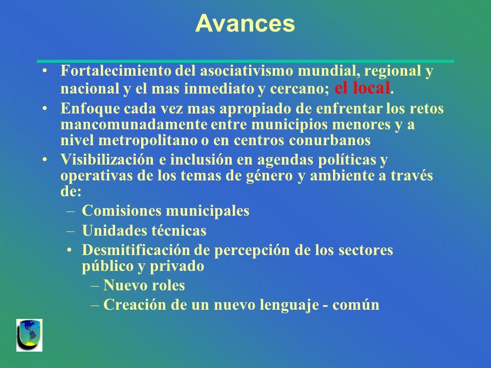 Avances Fortalecimiento del asociativismo mundial, regional y nacional y el mas inmediato y cercano; el local. Enfoque cada vez mas apropiado de enfre
