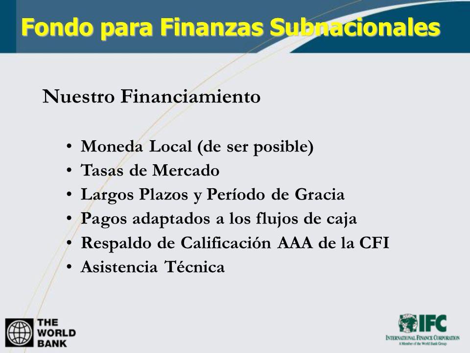 Fondo para Finanzas Subnacionales - Productos Préstamos Préstamos senior, subordinados y convertibles Tasas: fija, variable o indexada Posibilidad de Sindicar