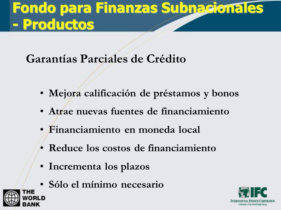 Capital/Cuasicapital A compañías de proyecto, instituciones financieras y otras entidades Cuasicapital incluye deuda convertible, préstamos subordinados, acciones preferenciales, pagarés participatorios y otros instrumentos híbridos Fondo para Finanzas Subnacionales - Productos