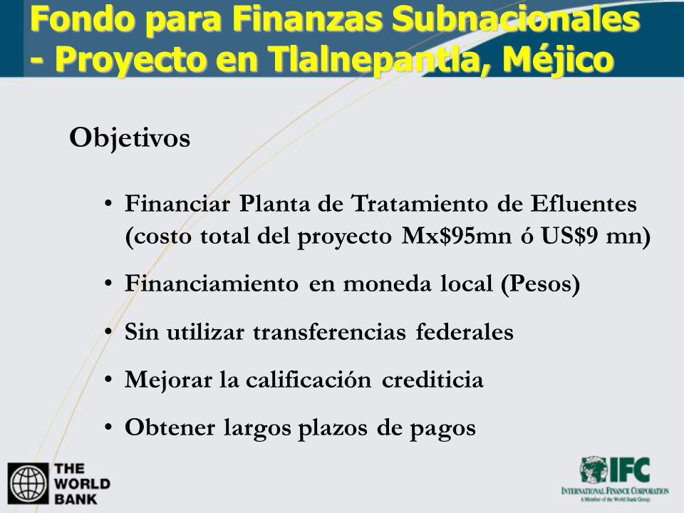 Fondo para Finanzas Subnacionales - Proyecto en Tlalnepantla, Méjico Objetivos Financiar Planta de Tratamiento de Efluentes (costo total del proyecto