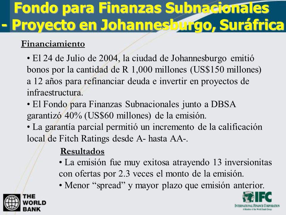 Fondo para Finanzas Subnacionales - Proyecto en Johannesburgo, Suráfrica Fondo para Finanzas Subnacionales - Proyecto en Johannesburgo, Suráfrica El 2