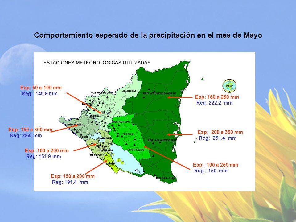 Comportamiento esperado de la precipitación en el mes de Junio Esp: 200 a 350 mm Reg: 290.0 mm Esp: 150 a 250 mm Reg: 166.9 mm Esp: 200 a 300 mm Reg: 250.4 mm Esp: 100 a 200 mm Reg: 191.9 mm Esp: 400 a 550 mm Reg: 457.8 mm Esp: 300 a 400 mm Reg: 381.5 mm Esp: 150 a 300 mm Reg: 261.8 mm