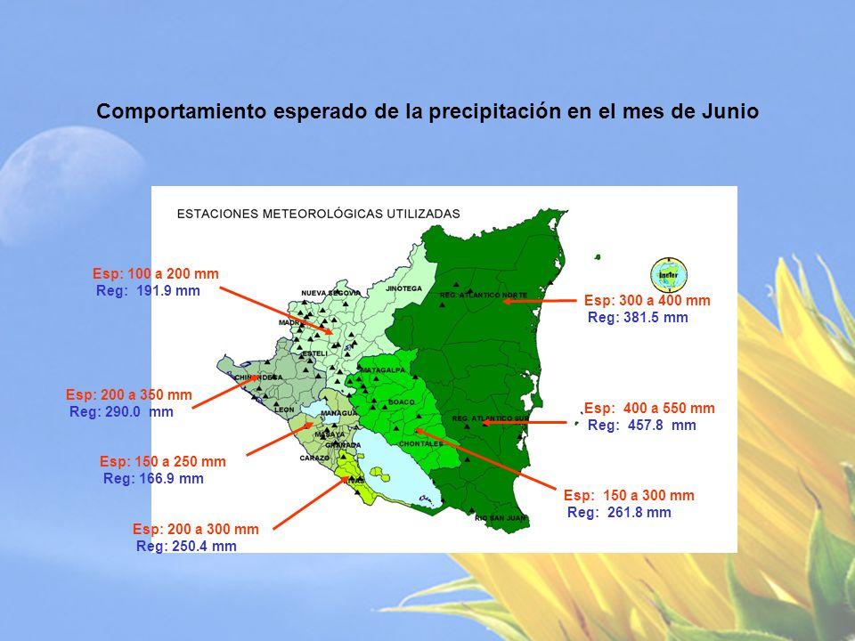 Comportamiento esperado de la precipitación en el mes de Julio Esp: 100 a 200 mm Reg: 163.7 mm Esp: 100 a 200 mm Reg: 130.8 mm Esp: 120 a 200 mm Reg: 182.9 mm Esp: 50 a 100 mm Reg: 122.0 mm Esp: 450 a 700 mm Reg: 551.1 mm Esp: 400 a 500 mm Reg: 449.5 mm Esp: 100 a 300 mm Reg: 220.1 mm