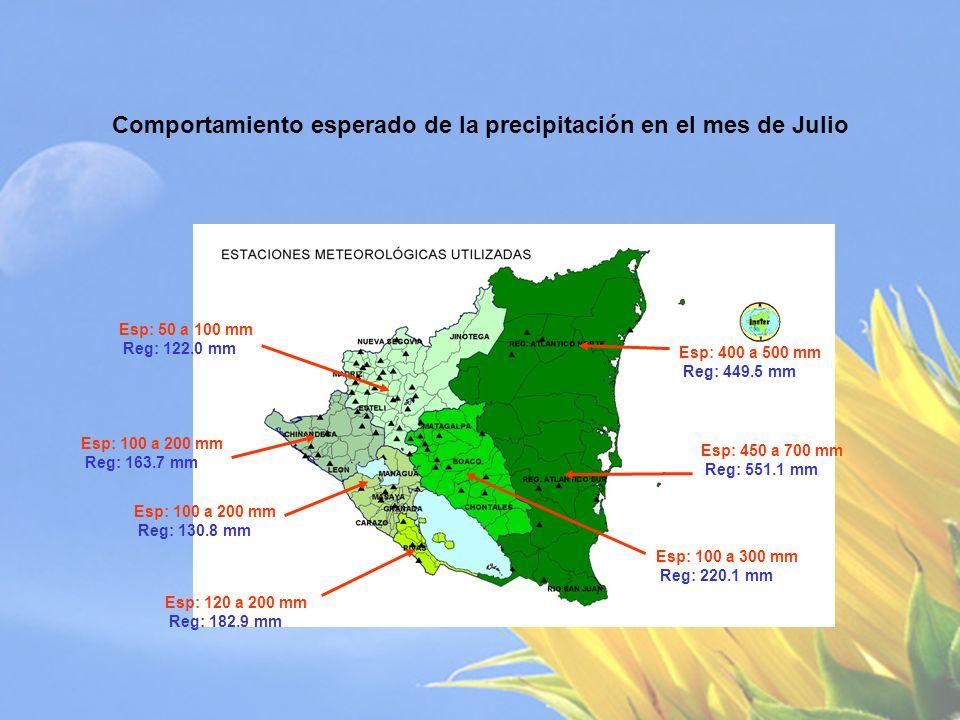 Totales de Precipitación Esperados para el Primer Subperíodo lluvioso: Mayo-Junio-Julio.