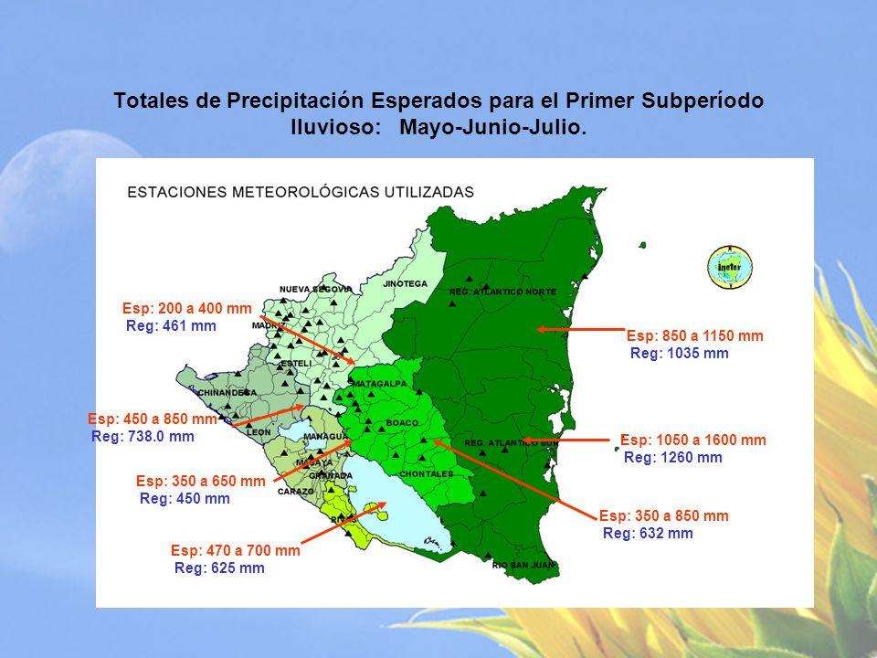 Comportamiento Esperados para el Primer Subperíodo lluvioso: Mayo-Junio-Julio 2009.