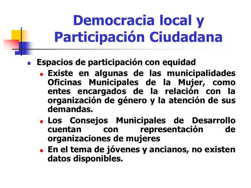 Espacios de participación con equidad Existe en algunas de las municipalidades Oficinas Municipales de la Mujer, como entes encargados de la relación