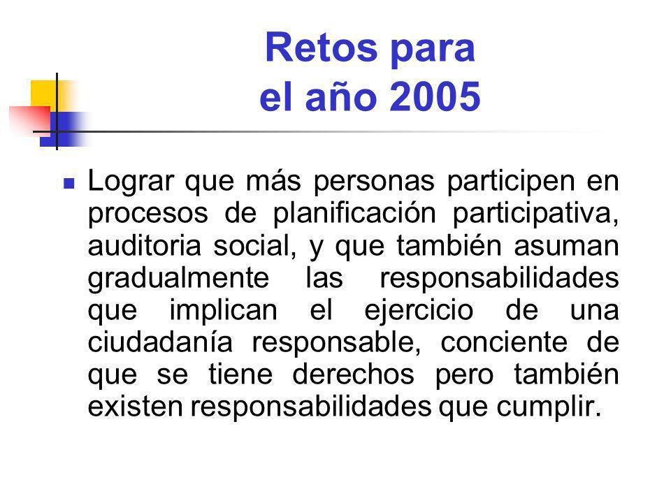 Retos para el año 2005 Lograr que más personas participen en procesos de planificación participativa, auditoria social, y que también asuman gradualme