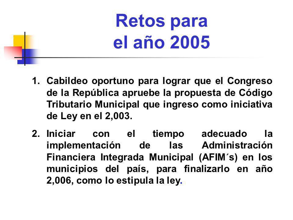 Retos para el año 2005 1.Cabildeo oportuno para lograr que el Congreso de la República apruebe la propuesta de Código Tributario Municipal que ingreso