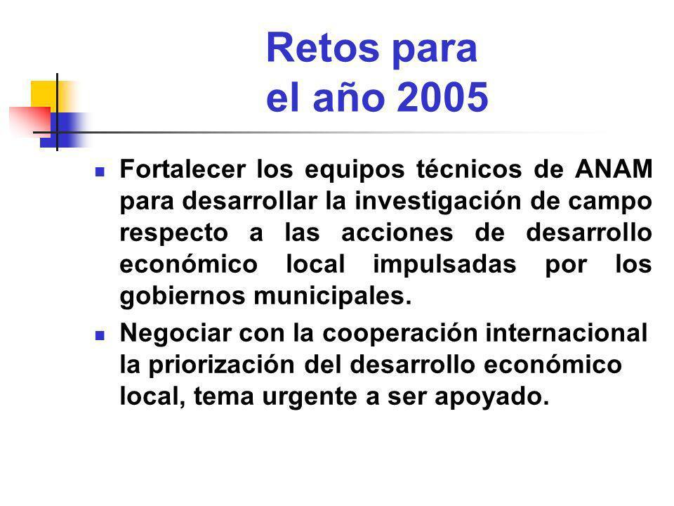 Retos para el año 2005 Fortalecer los equipos técnicos de ANAM para desarrollar la investigación de campo respecto a las acciones de desarrollo económ