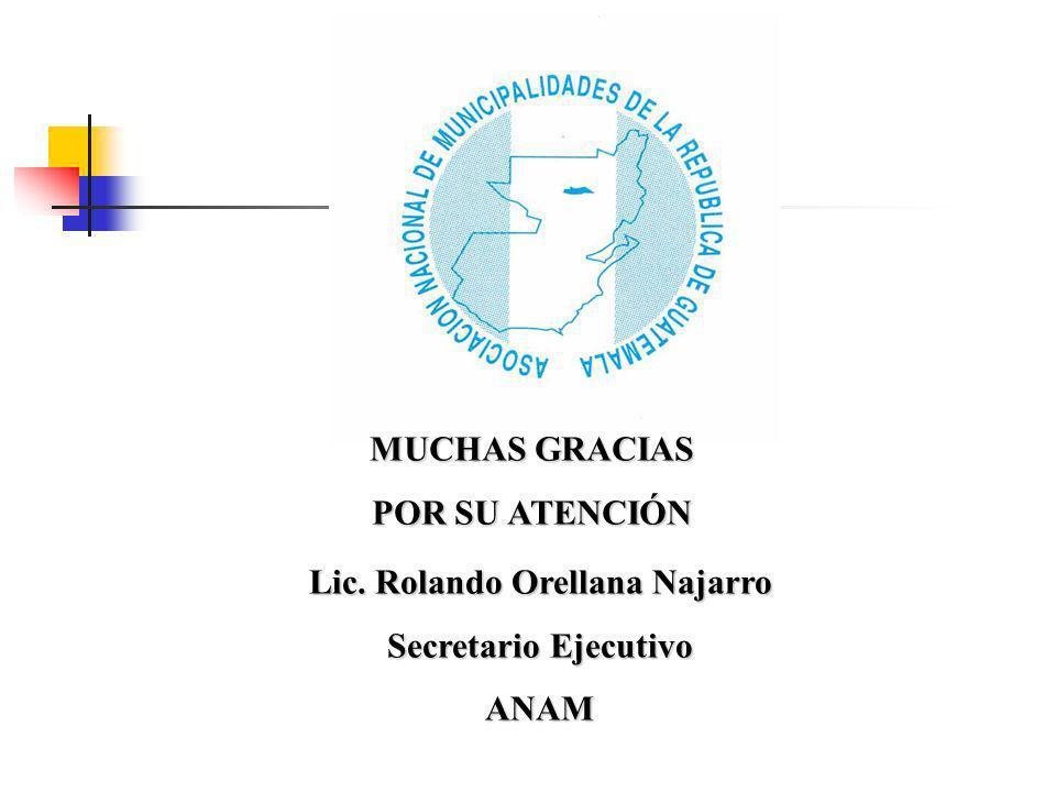 MUCHAS GRACIAS POR SU ATENCIÓN Lic. Rolando Orellana Najarro Secretario Ejecutivo ANAM