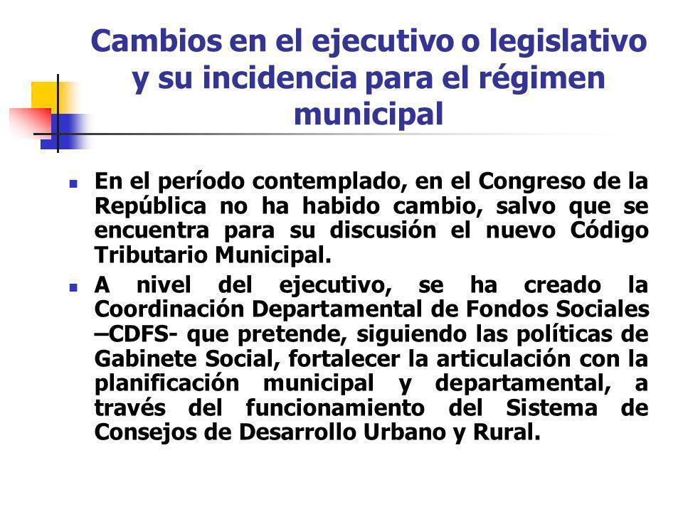 Cambios en el ejecutivo o legislativo y su incidencia para el régimen municipal En el período contemplado, en el Congreso de la República no ha habido