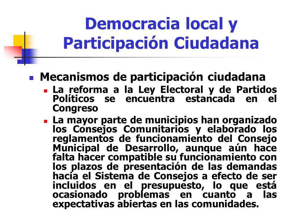 Mecanismos de participación ciudadana La reforma a la Ley Electoral y de Partidos Políticos se encuentra estancada en el Congreso La mayor parte de mu