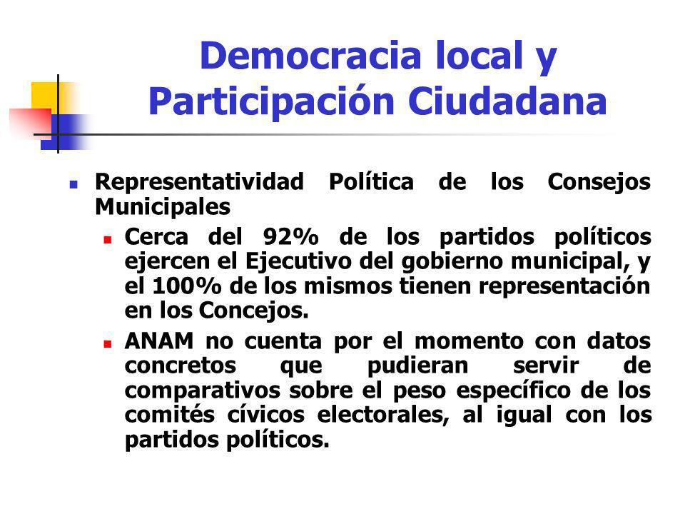 Representatividad Política de los Consejos Municipales Cerca del 92% de los partidos políticos ejercen el Ejecutivo del gobierno municipal, y el 100%