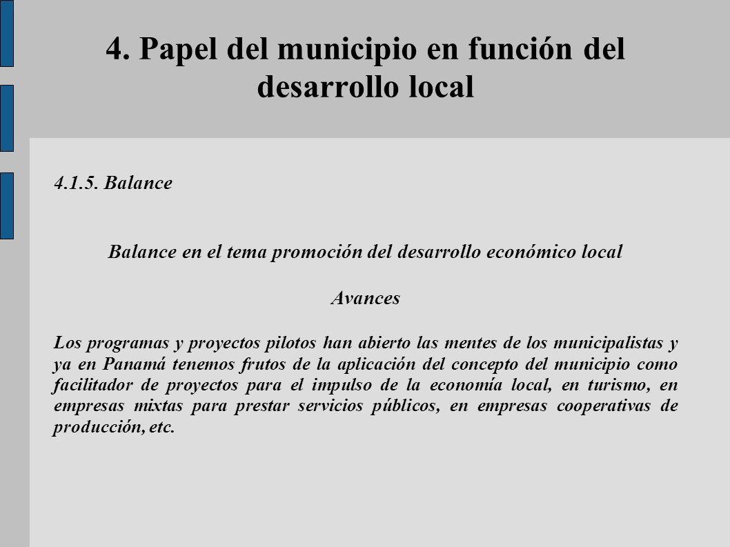 4. Papel del municipio en función del desarrollo local 4.1.5. Balance Balance en el tema promoción del desarrollo económico local Avances Los programa