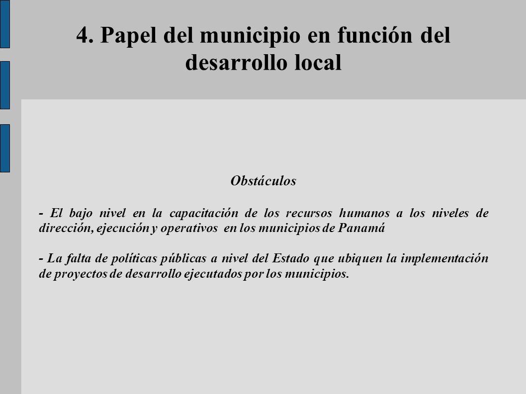 4. Papel del municipio en función del desarrollo local Obstáculos - El bajo nivel en la capacitación de los recursos humanos a los niveles de direcció