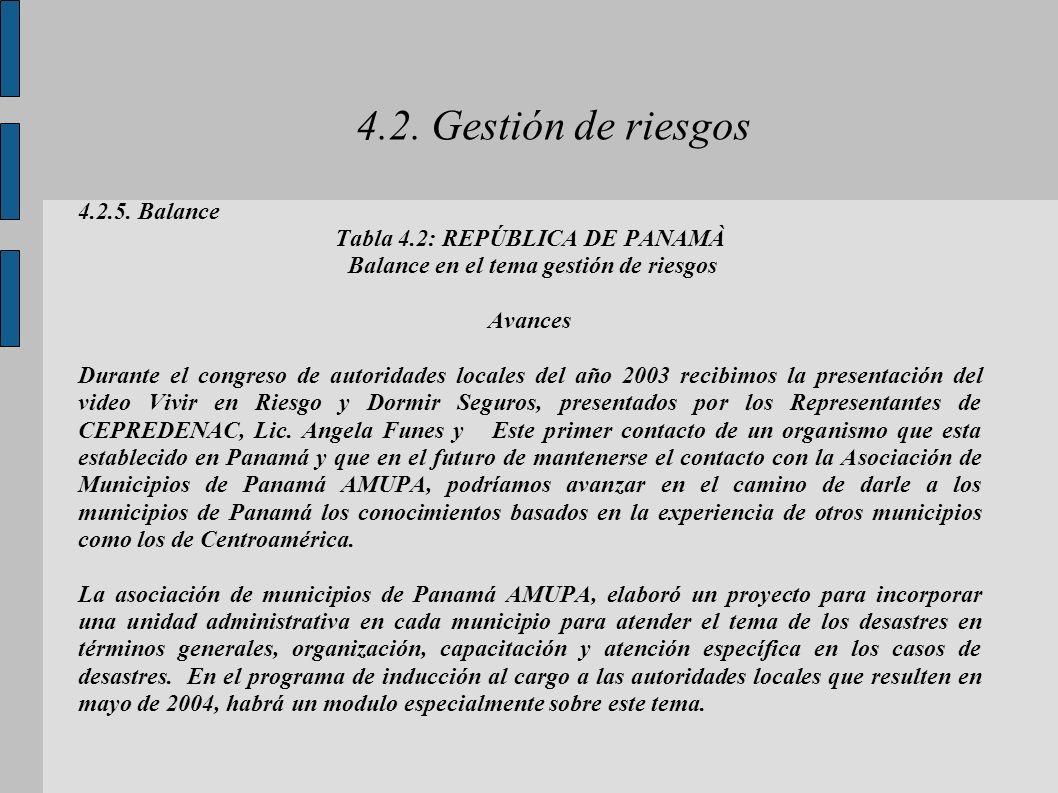 4.2. Gestión de riesgos 4.2.5. Balance Tabla 4.2: REPÚBLICA DE PANAMÀ Balance en el tema gestión de riesgos Avances Durante el congreso de autoridades