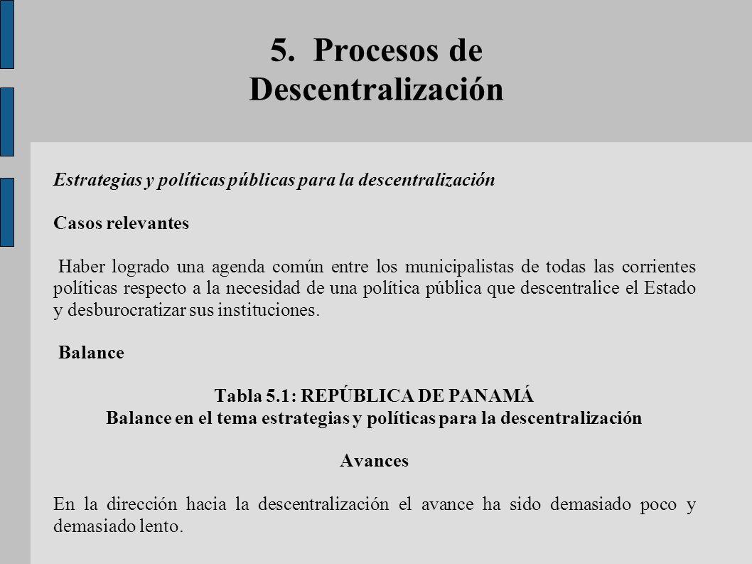 5. Procesos de Descentralización Estrategias y políticas públicas para la descentralización Casos relevantes Haber logrado una agenda común entre los