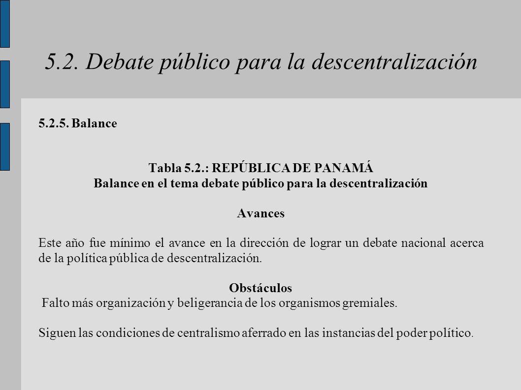 5.2. Debate público para la descentralización 5.2.5. Balance Tabla 5.2.: REPÚBLICA DE PANAMÁ Balance en el tema debate público para la descentralizaci