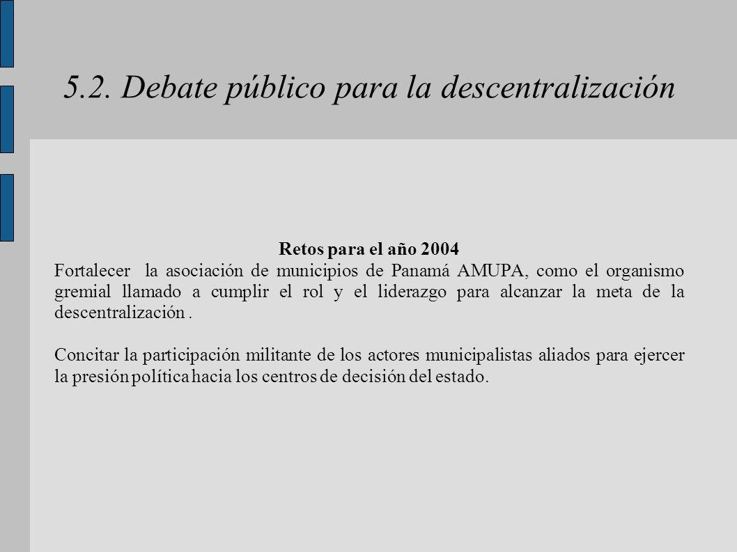5.2. Debate público para la descentralización Retos para el año 2004 Fortalecer la asociación de municipios de Panamá AMUPA, como el organismo gremial