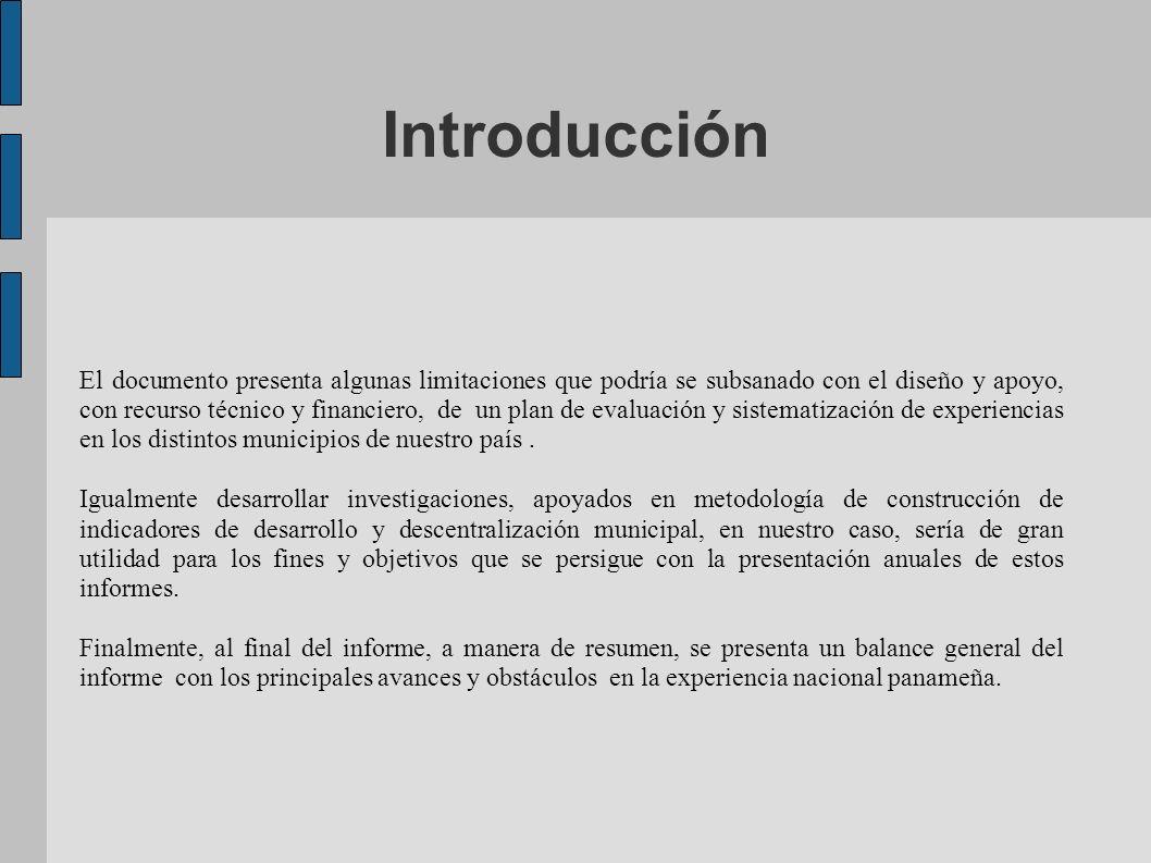 Introducción El documento presenta algunas limitaciones que podría se subsanado con el diseño y apoyo, con recurso técnico y financiero, de un plan de