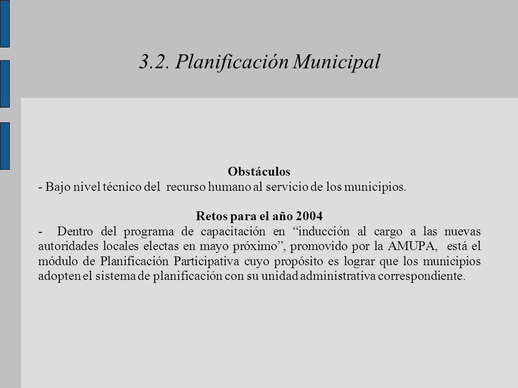 3.2. Planificación Municipal Obstáculos - Bajo nivel técnico del recurso humano al servicio de los municipios. Retos para el año 2004 - Dentro del pro