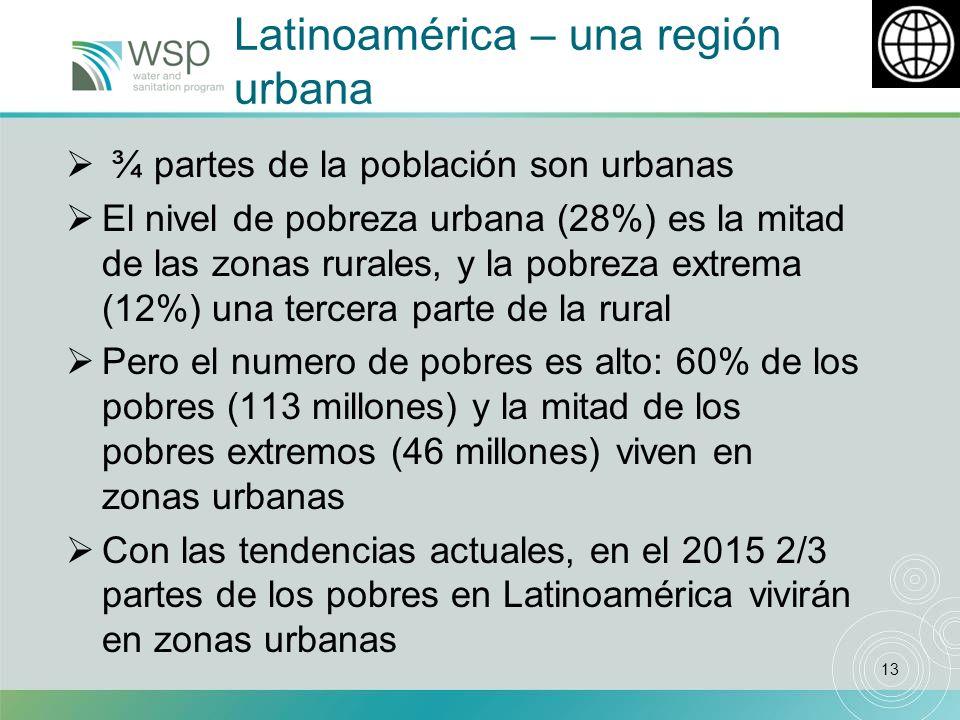 13 Latinoamérica – una región urbana ¾ partes de la población son urbanas El nivel de pobreza urbana (28%) es la mitad de las zonas rurales, y la pobreza extrema (12%) una tercera parte de la rural Pero el numero de pobres es alto: 60% de los pobres (113 millones) y la mitad de los pobres extremos (46 millones) viven en zonas urbanas Con las tendencias actuales, en el 2015 2/3 partes de los pobres en Latinoamérica vivirán en zonas urbanas