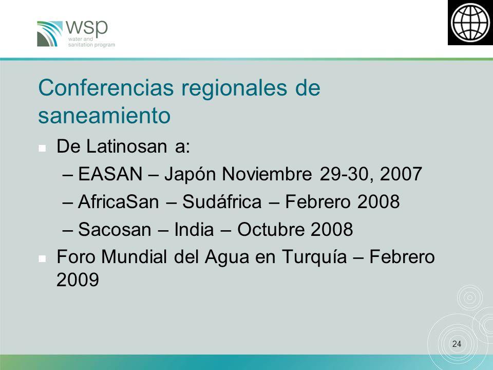 24 Conferencias regionales de saneamiento n De Latinosan a: –EASAN – Japón Noviembre 29-30, 2007 –AfricaSan – Sudáfrica – Febrero 2008 –Sacosan – India – Octubre 2008 n Foro Mundial del Agua en Turquía – Febrero 2009