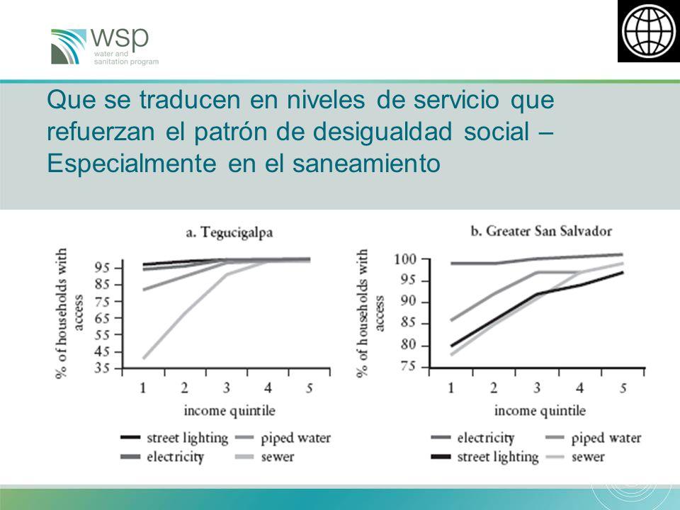 7 Que se traducen en niveles de servicio que refuerzan el patrón de desigualdad social – Especialmente en el saneamiento