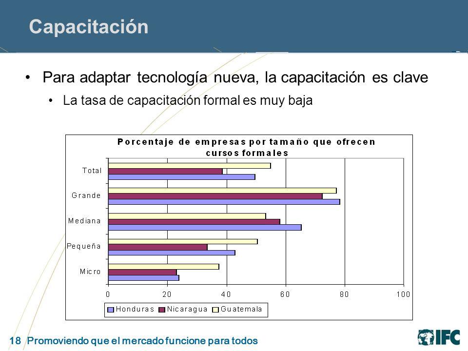 18 Promoviendo que el mercado funcione para todos Capacitación Para adaptar tecnología nueva, la capacitación es clave La tasa de capacitación formal es muy baja