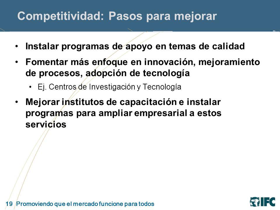 19 Promoviendo que el mercado funcione para todos Competitividad: Pasos para mejorar Instalar programas de apoyo en temas de calidad Fomentar más enfoque en innovación, mejoramiento de procesos, adopción de tecnología Ej.